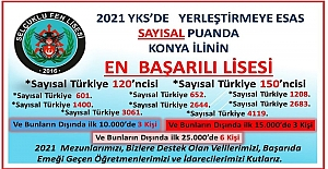 YKS'de Yerleştirmeye Esas Sayısal Puanda, Konya'nın En İyi Lisesi