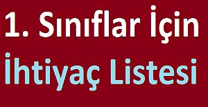 1. Sınıflar İçin İhtiyaç Listesi