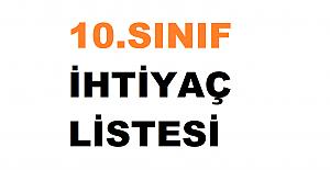 2021-2022 10. Sınıf Okul İhtiyaç Listesi