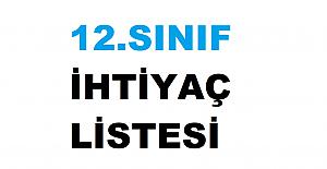 2021-2022 12. Sınıf Okul İhtiyaç Listesi