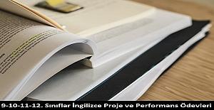 9-10-11-12. Sınıflar İngilizce Proje ve Performans Ödevleri
