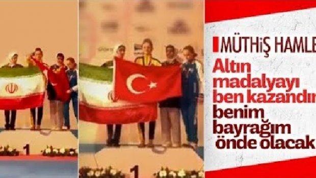 Şampiyon sporcudan İranlı rakibine Türk Bayrağı dersi